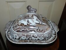 ANTIQUE STAFFORDSHIRE BROWN TRANSFERWARE WILD ROSE COV VEGETABLE DISH foo dog