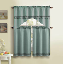 3 Piece Embroidered Kitchen Curtain Set By VCNY Bellmay Blue