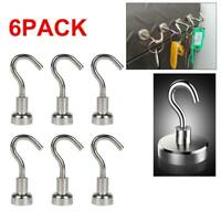 6× Strong Magnetic Hooks Heavy Duty Hook Magnetic Hanger Neodymium Tools