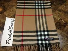 Warm 2 PLY Cashmere Scarf Camel Black Big Nova Check Tartan Plaid SCOTLAND B73