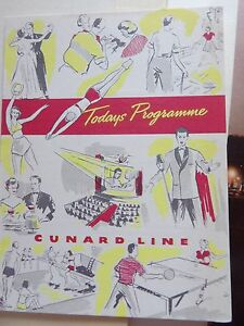 CUNARD RMS QUEEN MARY CABIN CLASS PROGRAMME OF EVENTS JULY 11 1951