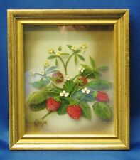 "EDMOND J. NOGAR 3-D PAINTING ON GLASS 5""X6"" RED STRAWBERRIES SIGNED GOLD FRAME"