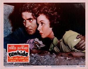 RAWHIDE • Tyrone Power & Susan Hayward • 1956 Rerelease Lobby Card # 6