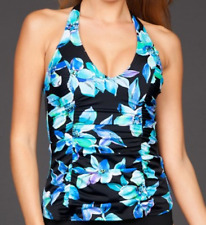 Caribbean Joe Martinique Shirred H-Back Tankini Top Size 8