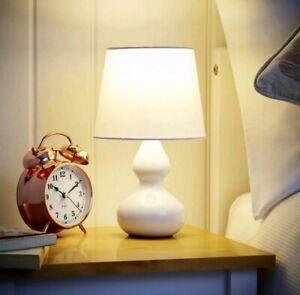28cm WHITE Ceramic Table Lamp Small Desk Light Home Kids BED ROOM Dinning Decor