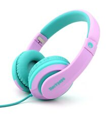 RockPapa On Ear Foldable Girls Kids Headphones w/ Mic for CD DVD Airplane Pink