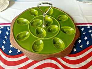 Vintage Green Sequoia Ware #744 deviled Egg Platter/plate with carrying Handle