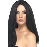 Womens Black Star Style Wig Long Straight Fashion Fancy Dress Witch Halloween