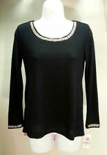 NWT Style&co. Women's Black Scoop Neck Long Sleeve Sweater Size: PP