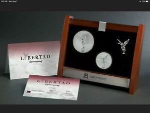 2020 Mexico Libertad 2-Coin Silver 2 oz & 5 oz Reverse Proof Set, Ready To Ship
