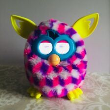 HASBRO FURBY BOOM PINK PURPLE WHITE HOUNDSTOOTH 2012 TOY LCD SOUNDS INTERACTIVE
