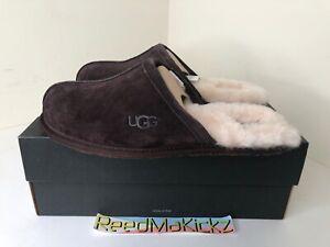 UGG Scuff Logo Slippers MENS Espresso Brown Dark Chocolate Suede Wool 1101111