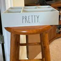 RAE DUNN PRETTY  Gray  Wood Makeup Jewelry Organizer Caddy --Brand New!