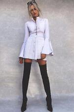SHAKUHACHI Contrast Stitch White Mini Dress Size S/8 BNWOT