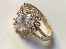 Sterling silver '925' and clear CZ stone floral cluster band ring size Q trophy