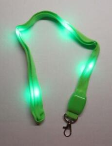 LED Blinking Light Up GREEN LANYARD KEY CHAIN Ring Keychain ID Holder NEW