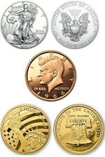 2020 1oz Eagle, 2020 1/10oz Statue of Liberty $5 Gold Coin & 1oz Kennedy Copper