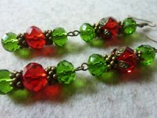 Women's Vintage Style Crystal Cherry Dangle Earrings Handmade Costume Jewellery
