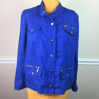 Chicos 2 Womens Jacket Linen Snap Front Stand Collar Blue Size L