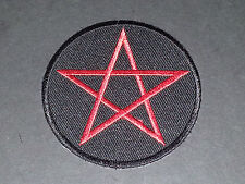 NOVELTY GOTHIC HIPPY BIKER SEW/IRON ON PATCH:- RED on BLACK PENTANGLE (b)