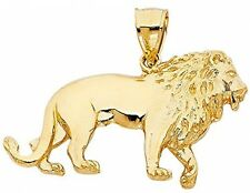 Solid 14K Yellow Gold Lion Pendant