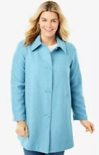 WOMAN WITHIN Plus Size 34W 4X A-Line Lined Blue Wool Blend Coat