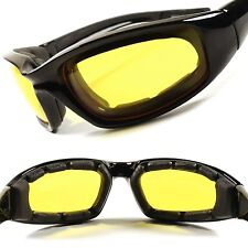 Yellow Lens Day Night Outdoor Biker Motorcycle Foam Padded Wrap Sun Glasses F50