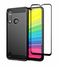 Carbon Case for Motorola Moto G8 Power Lite + Full Glass Screen Protector Cover