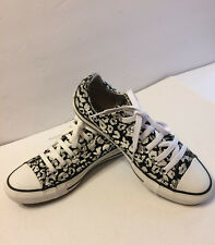Converse All Star Black White Leopard Animal Print Low Top Sneakers US Size 5