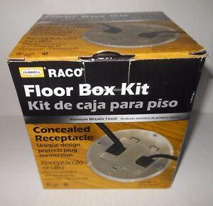 New Hubbell Raco Concealed Receptacle Floor Box Kit Nickel Plated 6239NL NIB