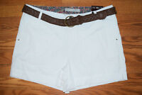 NWT Womens One 5 One White Brown Braided Belt Shorts Size 14