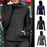 Ladies Long Sleeve Zipper Hoodies Sweatshirts Yoga Gym Fitness Sports Coats