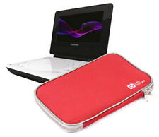 Red Durable Neoprene Pouch For DVD Players Including Toshiba SDP74SW & SDP94SKB