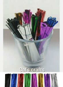 Metallic Twist Ties 8cm Choice of colours for cone cello sweet party gift bags