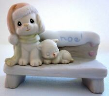 $ Precious Moments Sugar Town Dog Kitten On Bench Christmas Collectable