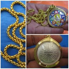 Silver Coin LP Sothorn Zodiac Buddhism in Gold Case & Necklace Thai Amulet G17-A