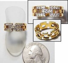 Panther Link Band Ring, Gold Plate w/Accent White Rhinestones, 3-Row, Size 6