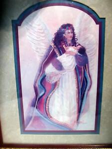 Bettie Hebert Felder Signed Guardian Angel Print Wood Framed Glass Art Painting