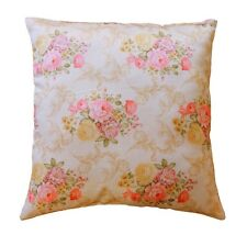 Cream With Pink Beige Floral Self Embossed 20 X 20 Silk Satin Cushion Cover Sofa