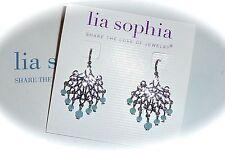 """NWT - LIA SOPHIA """"SEASCAPE"""" CHANDELIER EARRINGS - BLUE GLASS BEADS - 2014/$28"""