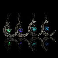 Crescent Sailor Half Moon Glow In The Dark Pendant Necklace Women's Jewelry Gift
