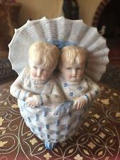 """Antique Heubach? Bisque Twin Blonde Children Boy Girl in Basket w Lid Vase 5"""" HI"""
