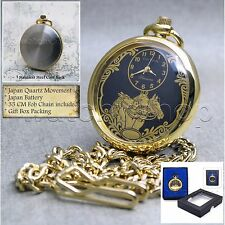 GOLD Antique HORSES Open Face Quartz Pocket Watch with Chain and Gift Box P182