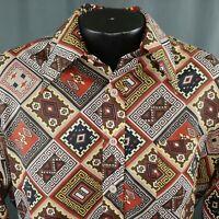 Vtg 70s Tribal Print Shirt Mens LARGE Polyester Perma Pressed No Iron