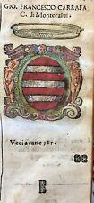 1586 ARALDICA STEMMA FRANCESCO CARAFA Conte di Montecalvo Avellino Regno Napoli