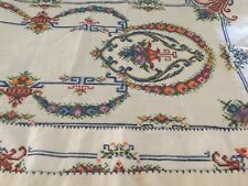 New listing Vintage Set (8) Embroidered Linen Place Mats with Runner Cream/Orange PinkFloral