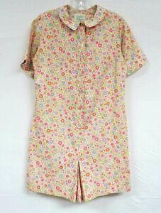 Vintage 60s 70s Romper Floral Short Sleeve Shirtwaist Pink Blue Ditsy Calico