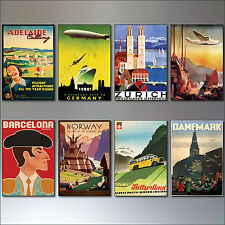 8 Vintage Travel Posters Fridge Magnets from Art Deco Period Retro repro No.2