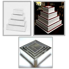 "4 TIER CHRISTMAS SQUARE WEDDING CAKE TINS 6""  8"" 10"" 12"""