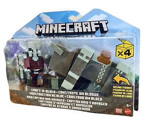 Mattel Minecraft Craft A Block Raid Captain & Ravager 2 Pack
